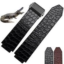 25*18 мм Высокое Качество ремни Из Натуральной Кожи крокодиловой кожи + резиновый Ремешок Для Часов с складной Пряжкой Развертывания бесплатная доставка