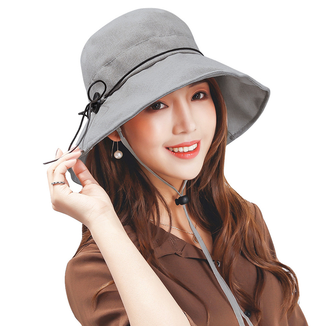 2bd43ead87105 Vintage Wide Brim UV Protection Sun Hats With String Summer Cotton Hat Women  Floppy Foldable Visor