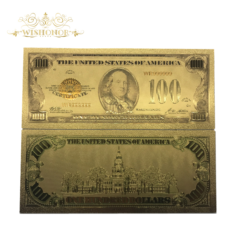 1928 Year 24k Gold Plated US Bill Note American Color Banknote with Stand Gifts