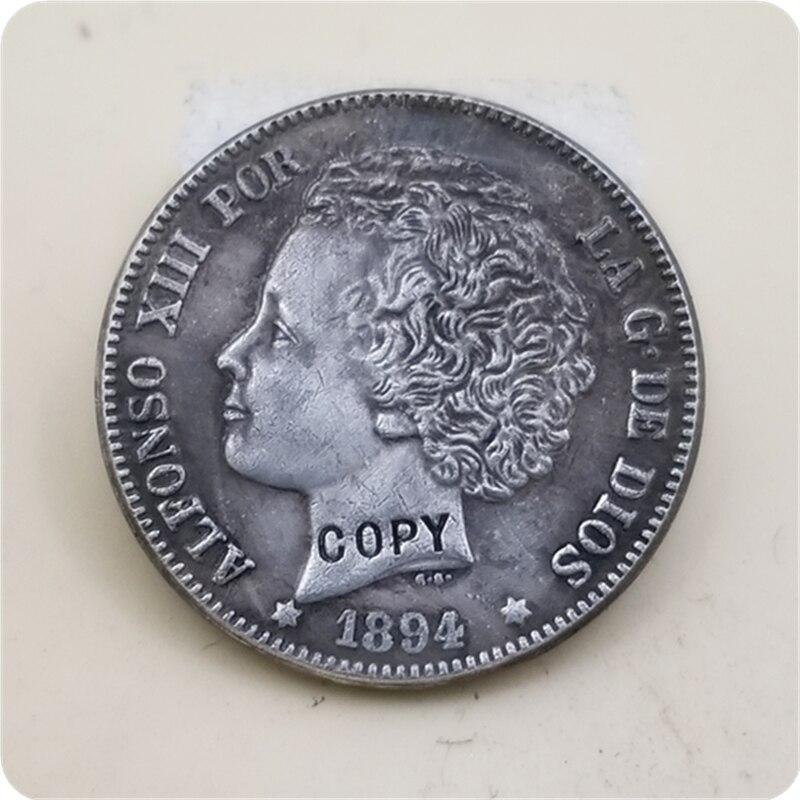 1894 Испания 2 Pesetas-Alfonso XIII (2-й портрет) копия монеты Бесплатная доставка