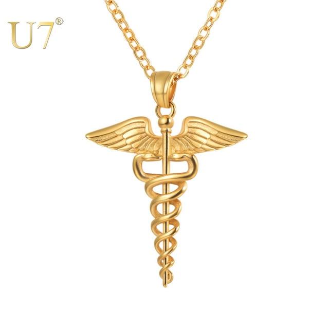 U7 Caduceus Double Snake Wings Medical Symbol Nurse Doctor Animal