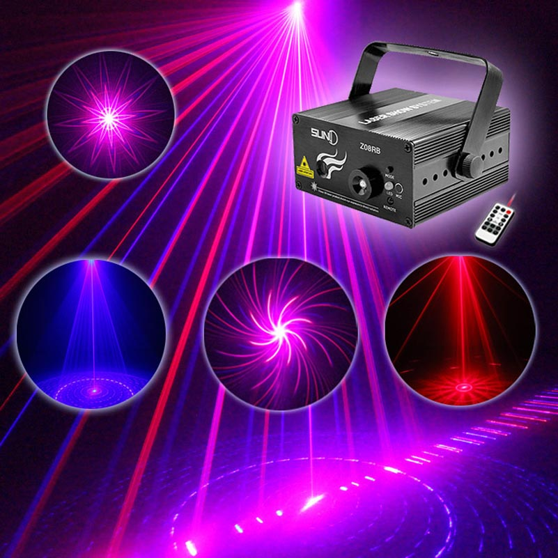 Mini High Quality Mini Laser Lights With RB 8 Patterns Blue Led Remote Control Projector Show Lighting For Dj Disco Party Events rg mini 3 lens 24 patterns led laser projector stage lighting effect 3w blue for dj disco party club laser