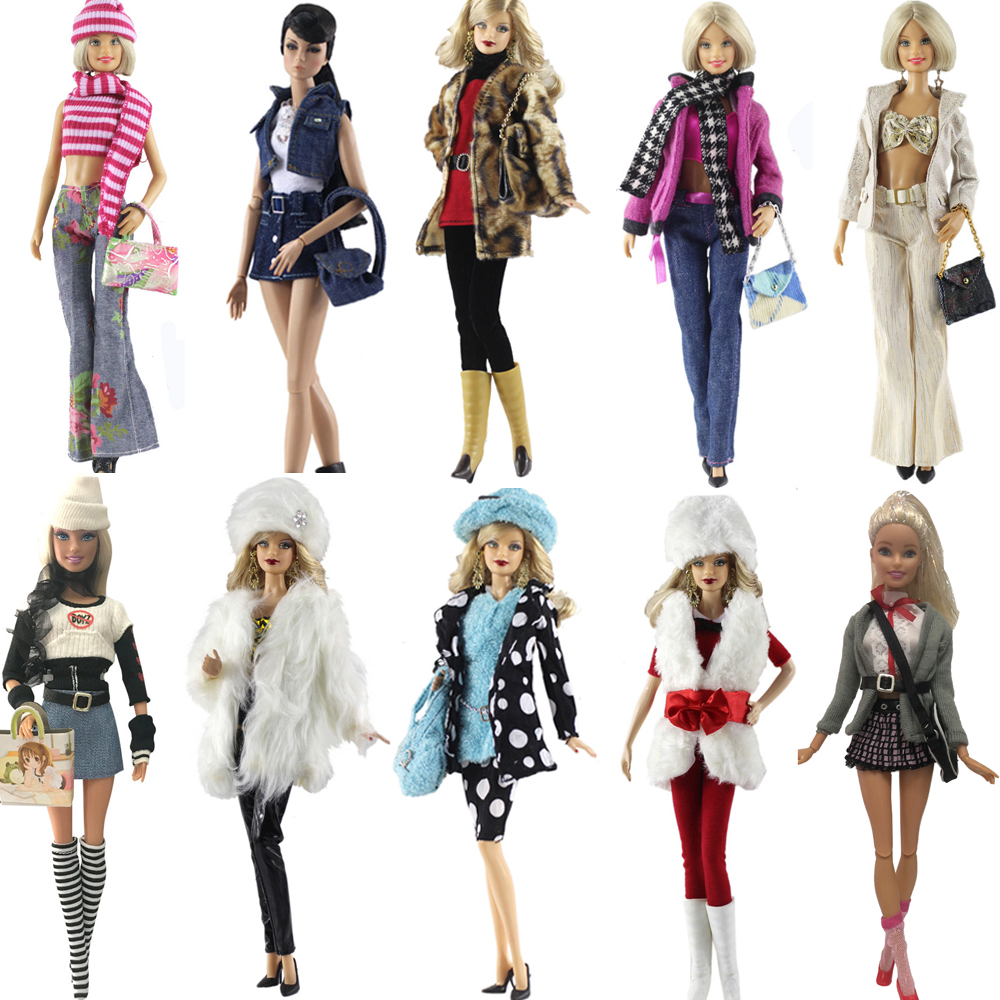 NK One Set Doll Dress Fashion Super Model Coat Modern Outfit Daily Wear For Barbie Doll Accessories Gift Baby Toys Mix Style JJ