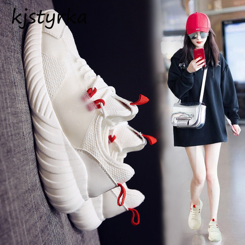 Mode Marque Blanc Non Designer Respirant Femme Kjstyrka Espadrilles Mesh Noir slip Chaussures Sneakers 2018 Dames blanc Casual z5wFq