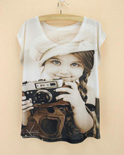 Lovely girl Old Photo printed clothing personality women t-shirt Novelty  style top tees short 3e8d13a0c