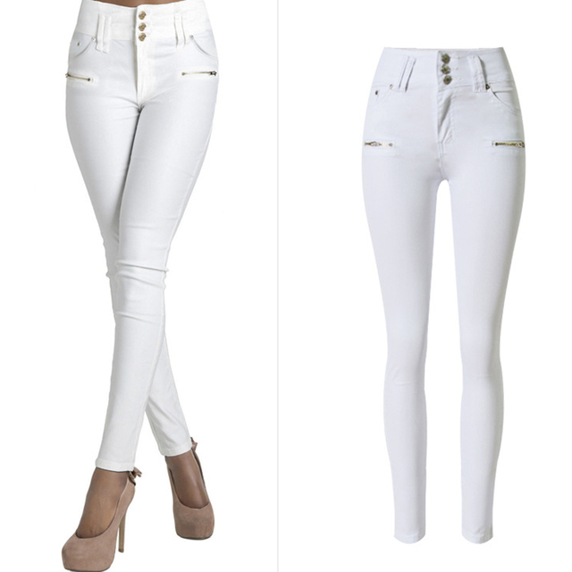 Olrain 2016 Autumn Women Fashion White High Waist Stretchy Slim Denim Pants Casual Skinny Jeans Pencil Pants
