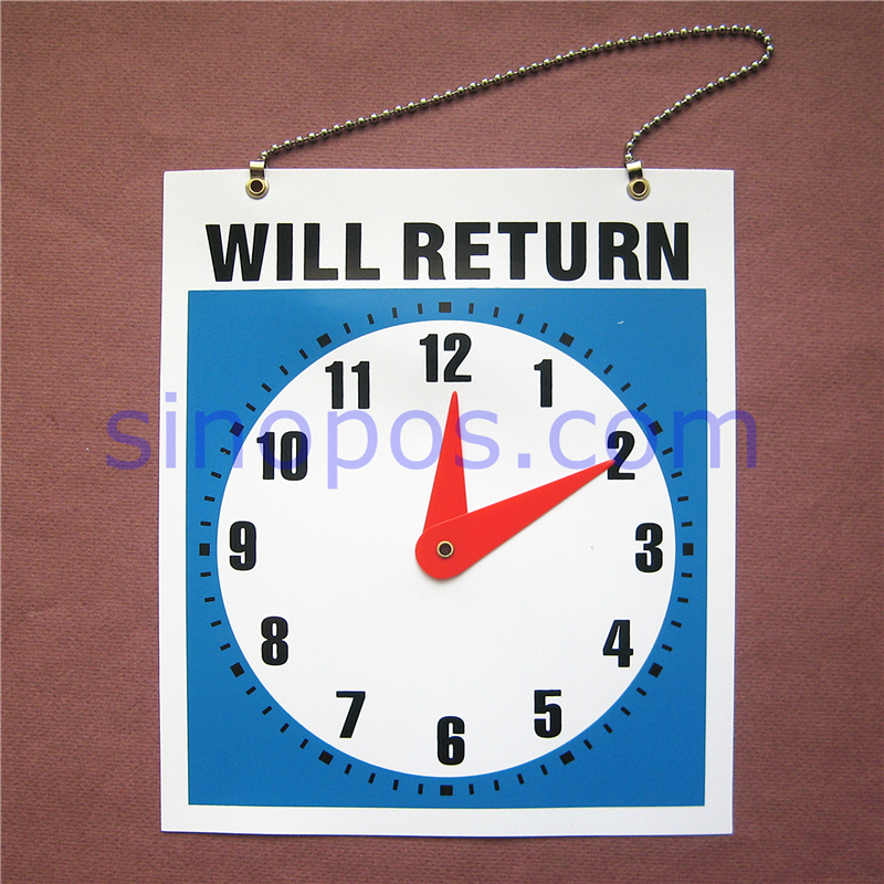 Double Sided Will Return Clock Sign 9 Retail Store Office Glass