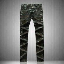 Мужская повседневная denim байкер джинсы прямые камуфляж брюки тонкий лоскутная army green брюки европейских Американский стиль горячей продажи