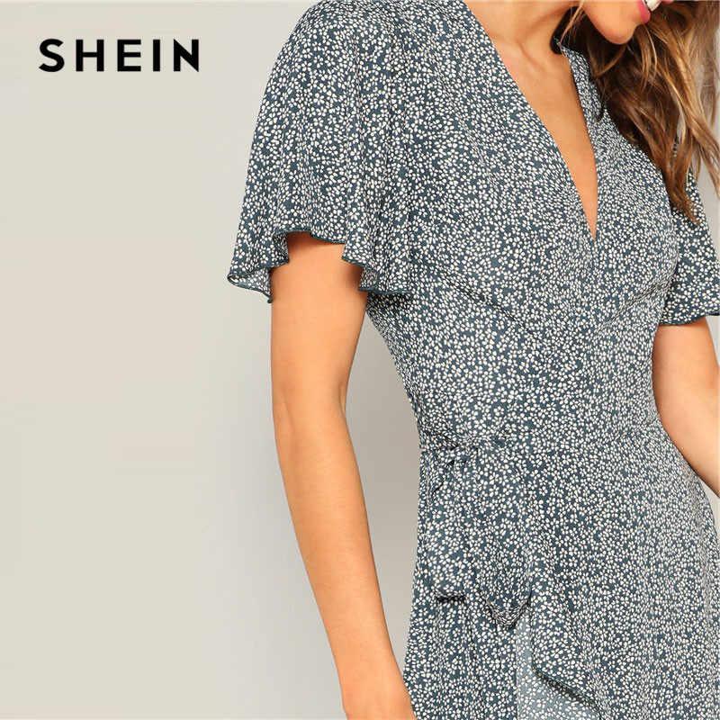 SHEIN, дамские синие рукава-крылышки с гофрированным подолом Обёрточная бумага с цветочным принтом длинное летнее платье в стиле бохо с v-образным вырезом с высокой талией Асимметричные подол Для женщин платье