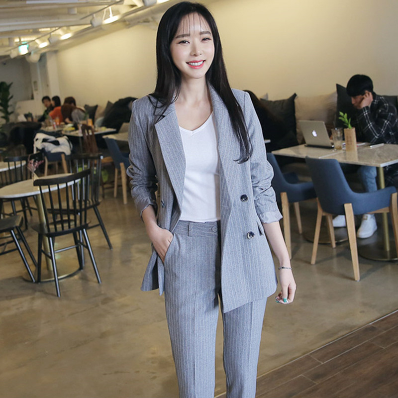 Suit female two piece set2018 Work Pant Suits Double Breasted Striped Blazer Jacket Zipper Pant Office OL Lady Suit