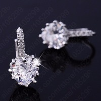 Luxury Colorful Heart Band Real Pure 925 Sterling Silver Jewelry Cubic Zirconia Stone Earrings Fashion Women