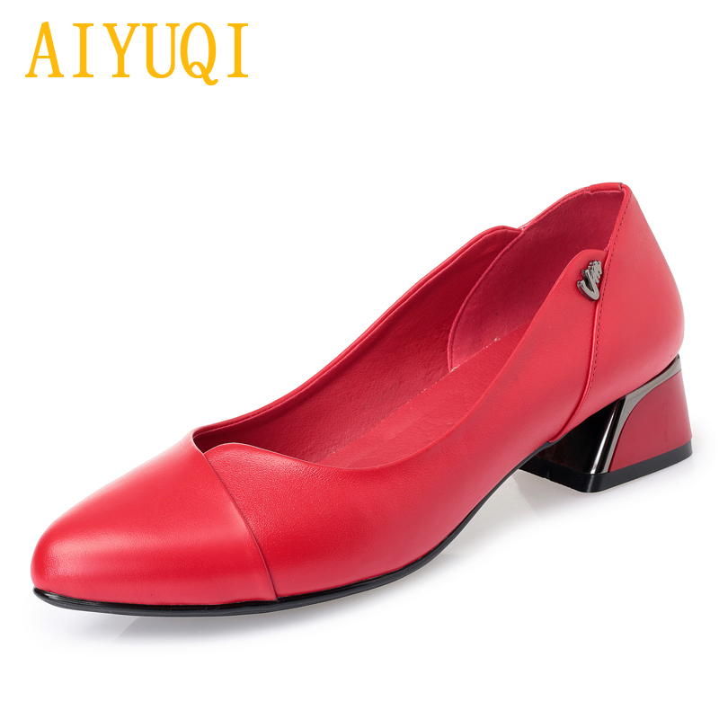 AIYUQI women 39 s dress shoes 2019 spring new genuine leather women 39 s fashion shoes red shallow mouth office shoes women in Women 39 s Pumps from Shoes