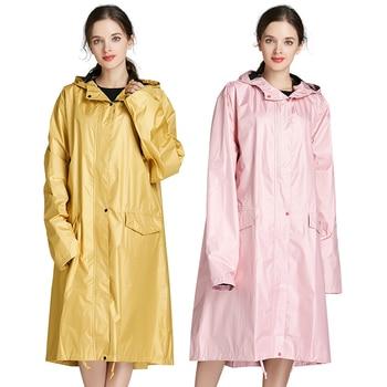 Long Yellow Pocket Raincoat Hooded Women Waterproof Thick Adult Rain Coat travel outdoor Stylish Raincoats Regenjas Dames 50yc66