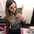 HEYounGIRL 2017 New Sexy Bodysuit Women Grid Mesh Lattice Long Sleeve Jumpsuit Solid Rompers Womens Party Bodysuits Playsuit