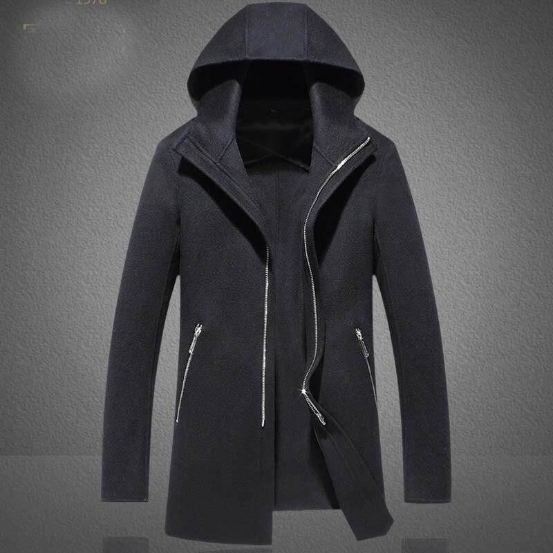 Hiver Veste Longue Section de La À Capuchon Manteau Cape Cardigan À Capuche Veste Hommes Manteau Noir