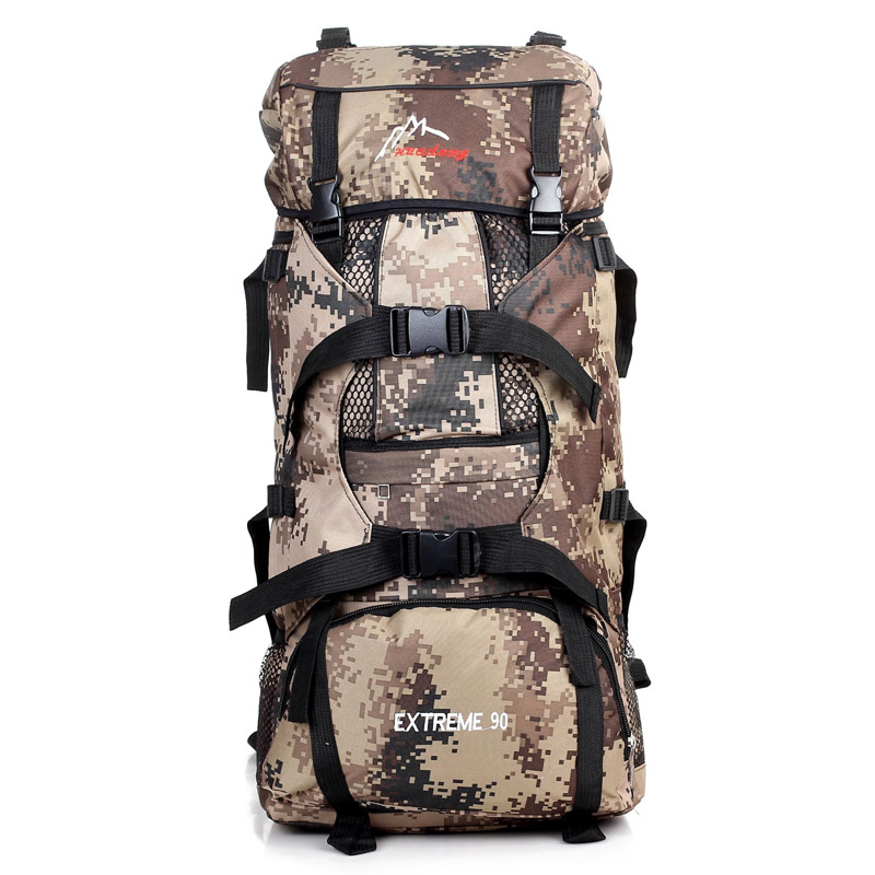 90l professional mountaineering bag outdoor camping hiking backpack Camouflage big - Dawei Personal Care store