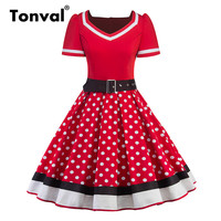 Tonval Pin Up Style Polka Dot 50s Vintage Red Dress Women Short Sleeve Color Contrast Dress Elegant Retro Pleated Dresses