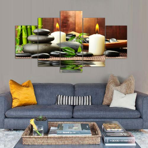 Wall Art Botanical Green Feng Shui White Candle Painting Canvas Pictures For Living Room Decor Unframed 5 Pieces In Calligraphy