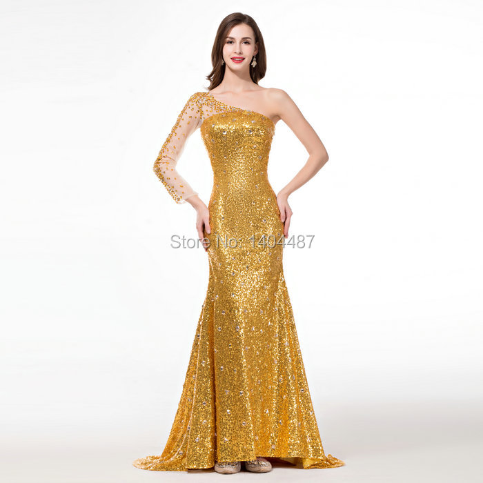 Gold Mermaid Dresses With Stones One Shoulder Sweep Train Formal ...