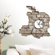 Wall Clocks 3D Room Decal Stickers Mute Silent Clock Art Mural Removable  Office Decor Collapsed Wall Decoration