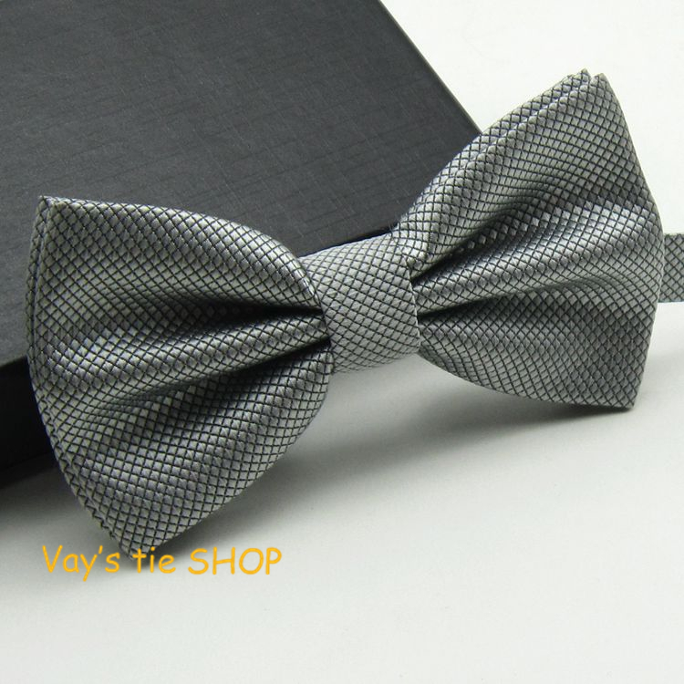 2018 New XMAS Gift Mens Fashion Dull Jacquard Plaid Grid Leisure Solid Bowtie Wedding Tuxedo Bow Ties Free Shipping Sliver Gray