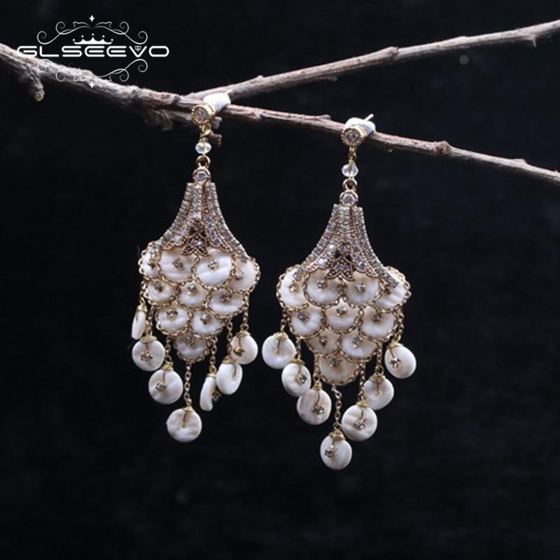 GLSEEVO Natural Mother Of Pearl Long Tassel Dangle Earrings For Women Luxury Handmade Fine Jewellery Zilveren Oorbellen GE0323 pair of retro faux pearl tassel earrings for women