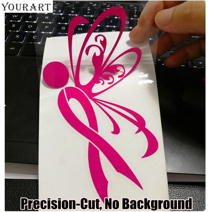 Yourart Kelebek Araba Sticker Vinil Çıkartması Araba-styling Pembe Kurdele Meme Kanseri Bilinçlendirme Araba Aksesuarları Styling Etiketler 15 CM