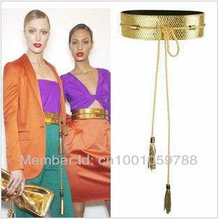 Розничная Новый 2013 Мода Золото Коричневый Кисточкой Винтаж Ремень Искусственная Кожа Высокого Широкий Пояс Поясной Ремень для Женщин, бесплатная Доставка!