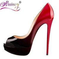 Italian Top Brand Women Fashion Open Toe Platform Patent Leather Pumps Red Nude Black Formal Dress