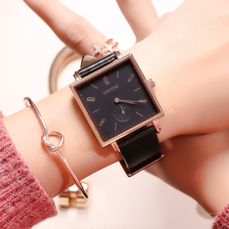 Fashion GUOU Quartz Brand Lady Watches Women Luxury Rose Gold Antique Square Leather Dress Wrist women watch Relogio rigardu fashion female wrist watch lovers gift leather band alloy case wristwatch women lady quartz watch relogio feminino 25