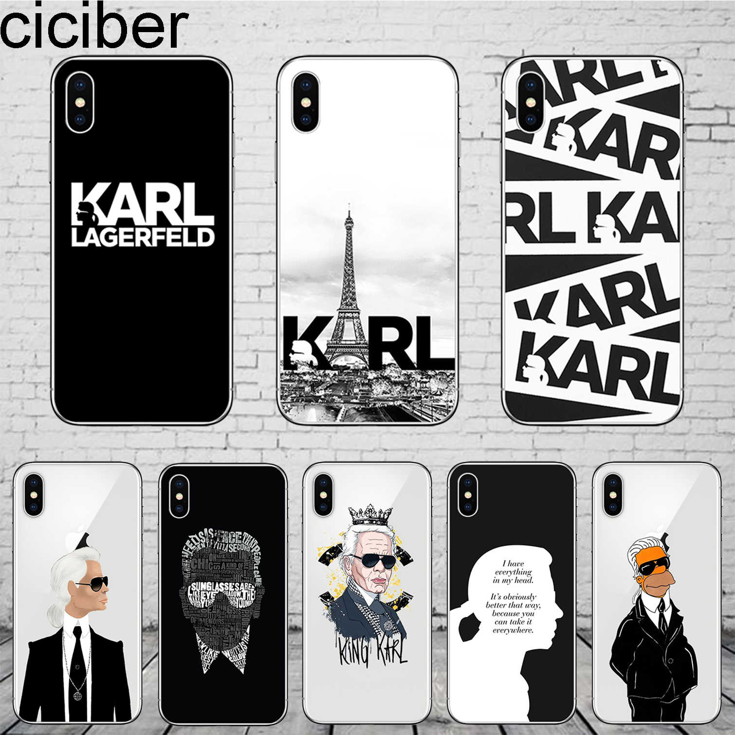 ciciber Karl Lagerfeld for iPhone 11 Pro Max Phone Cases For iPhone 7 8 6 6S Plus X XS Max XR 5 5S SE Coque Cover Soft Silicone