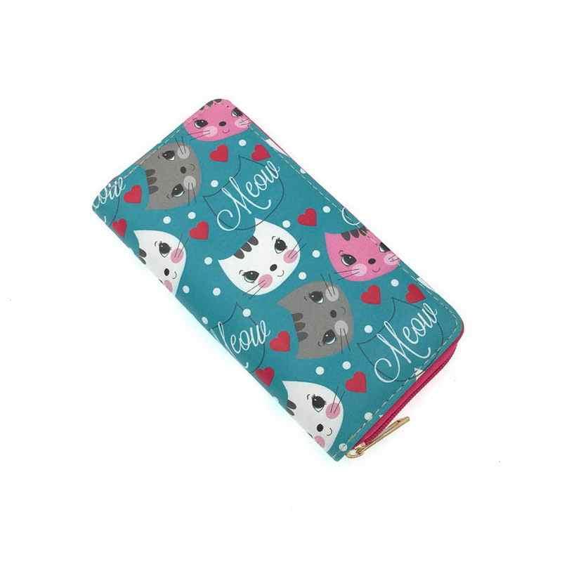 KANDRA/женские длинные кошельки большого объема с милым котом из искусственной кожи с мультяшным рисунком, Дамский клатч с карманом для телефона, Женская визитница, кошелек для денег