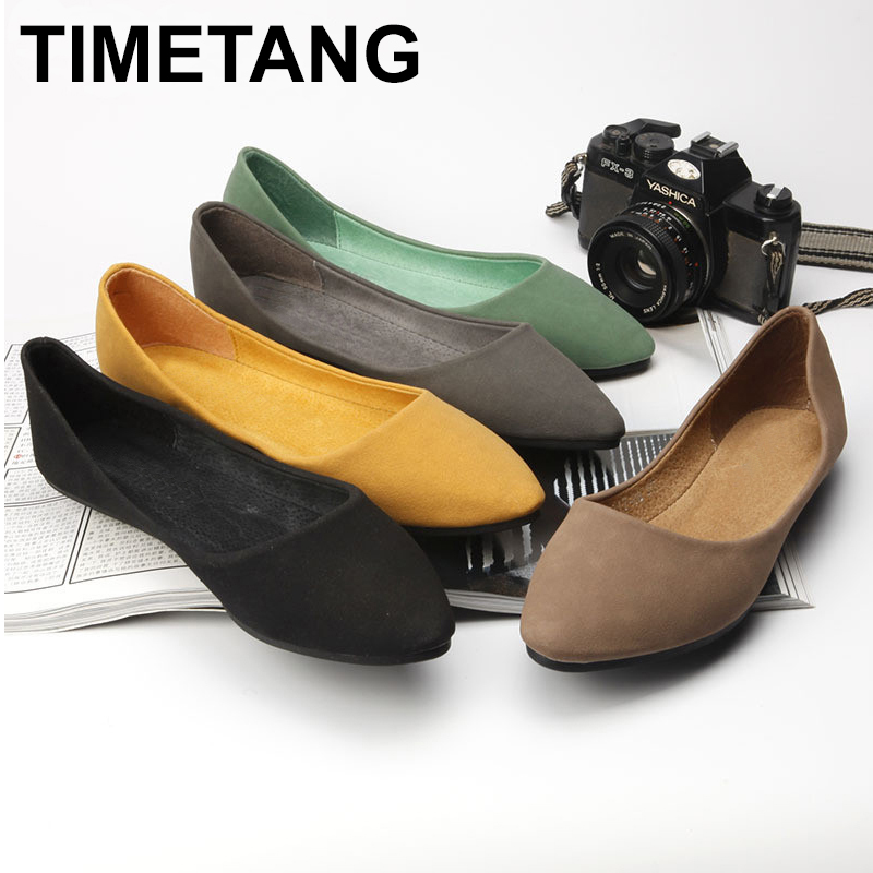 TIMETANG New Fashion Casual big size 35-41 simple women pointed toe shallow mouth single shoes female flat shoes C155 2017 the new european american fashion horn bow pointed mouth shallow comfortable flat sheet metal red shoes tide size 35 41