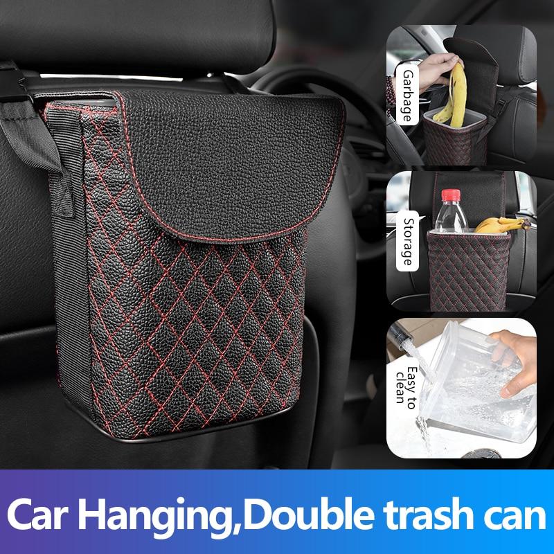 AIKESI Leather Car Trash Bin Auto Organizer Storage Box Car Trash Can Rubbish Gargage Holder Automobile Storage Car Accessories