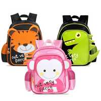 26CM Children School Bags Kindergarten 3D Tiger Monkey Dinosaurs Kids Boy Plush Backpacks Cartoon Animals Girls