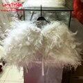REal Photo Luxury Marfim Xales de Pele De Avestruz Do Casamento Da Pena 2016 Wraps Nupcial Bolero para vestidos de noite Acessórios Do Casamento B65