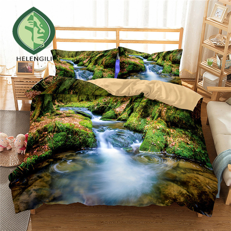 HELENGILI 3D Bedding Set Forest Dreamland Print Duvet Cover Set Lifelike Bedclothes With Pillowcase Bed Set Home Textiles #2-09