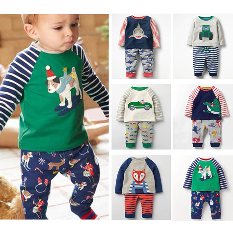 New 2018 Autumn Baby Boys Clothes Set Brand Quality 100% Cotton Long Sleeve T-shirt Pants 2pc Children Clothing Set Bebe Boy Set fashion baby girl t shirt set cotton heart print shirt hole denim cropped trousers casual polka dot children clothing set