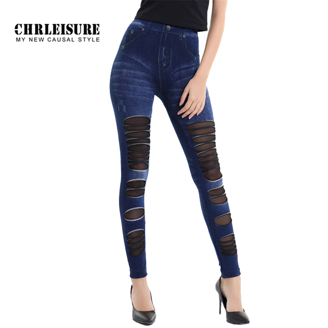 1bba4560837c0 CHRLEISURE Leggings Jeans For Women Denim Pants With Yarn Splice Fashion  Hollow Slim Jeggings Fitness Big Size Denim Leggins