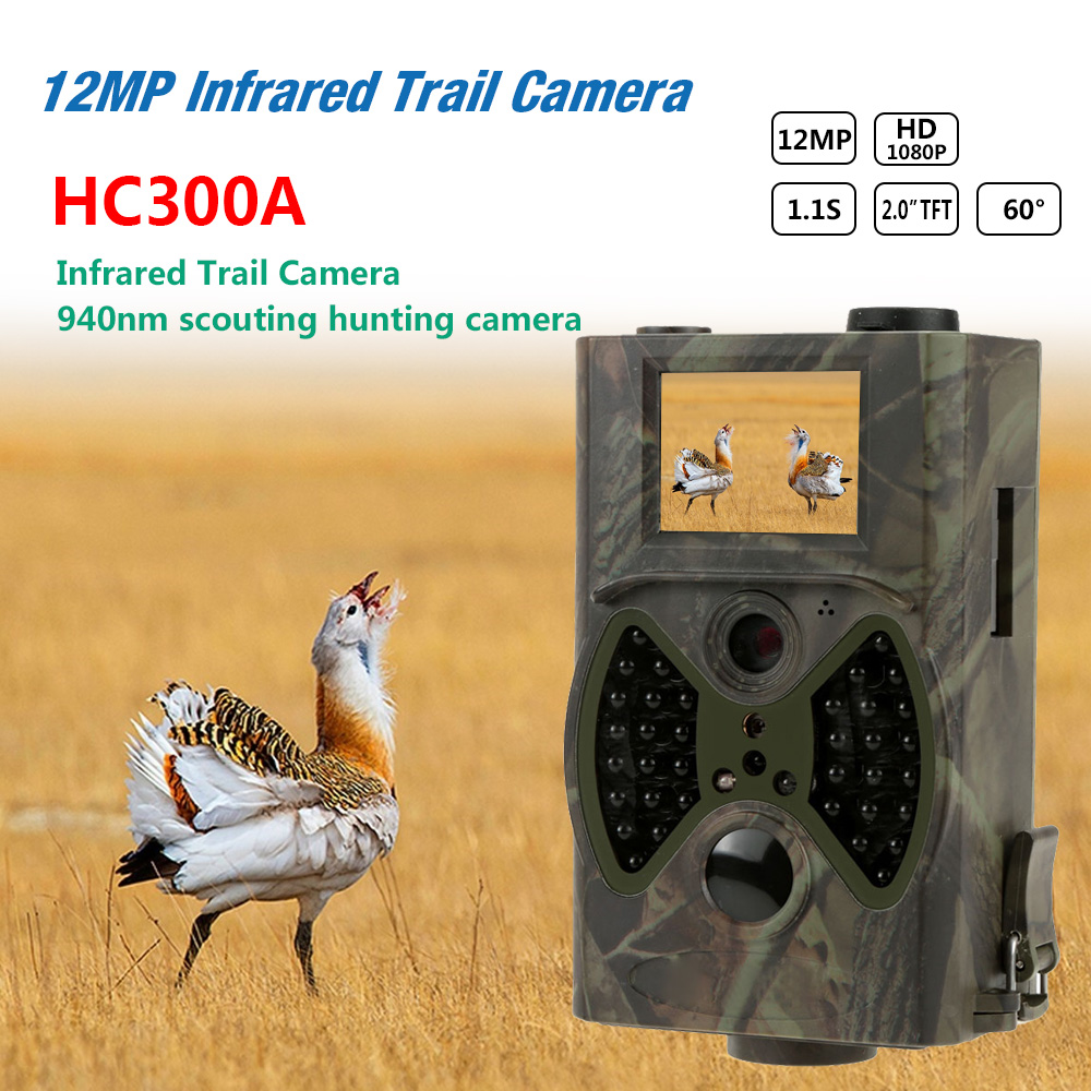Básico Caça Trail Camera HC300A 12MP Night Vision 1080P Wildlife Câmera de Vídeo Vigilância Cams para Hunter Fotos Armadilha