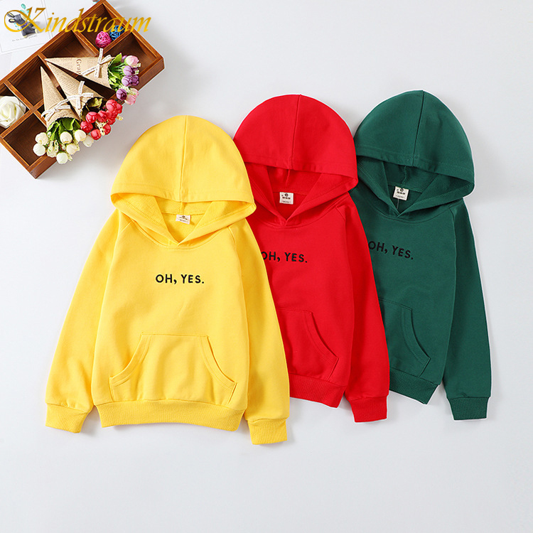 Kids Hoodies Sweatshirt Pullover DC125 Girls Boys Children's Yellow/green for Long-Sleeve