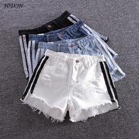 NEW European And American BF Summer Wind Female Blue High Waist Denim Shorts Women Worn Loose