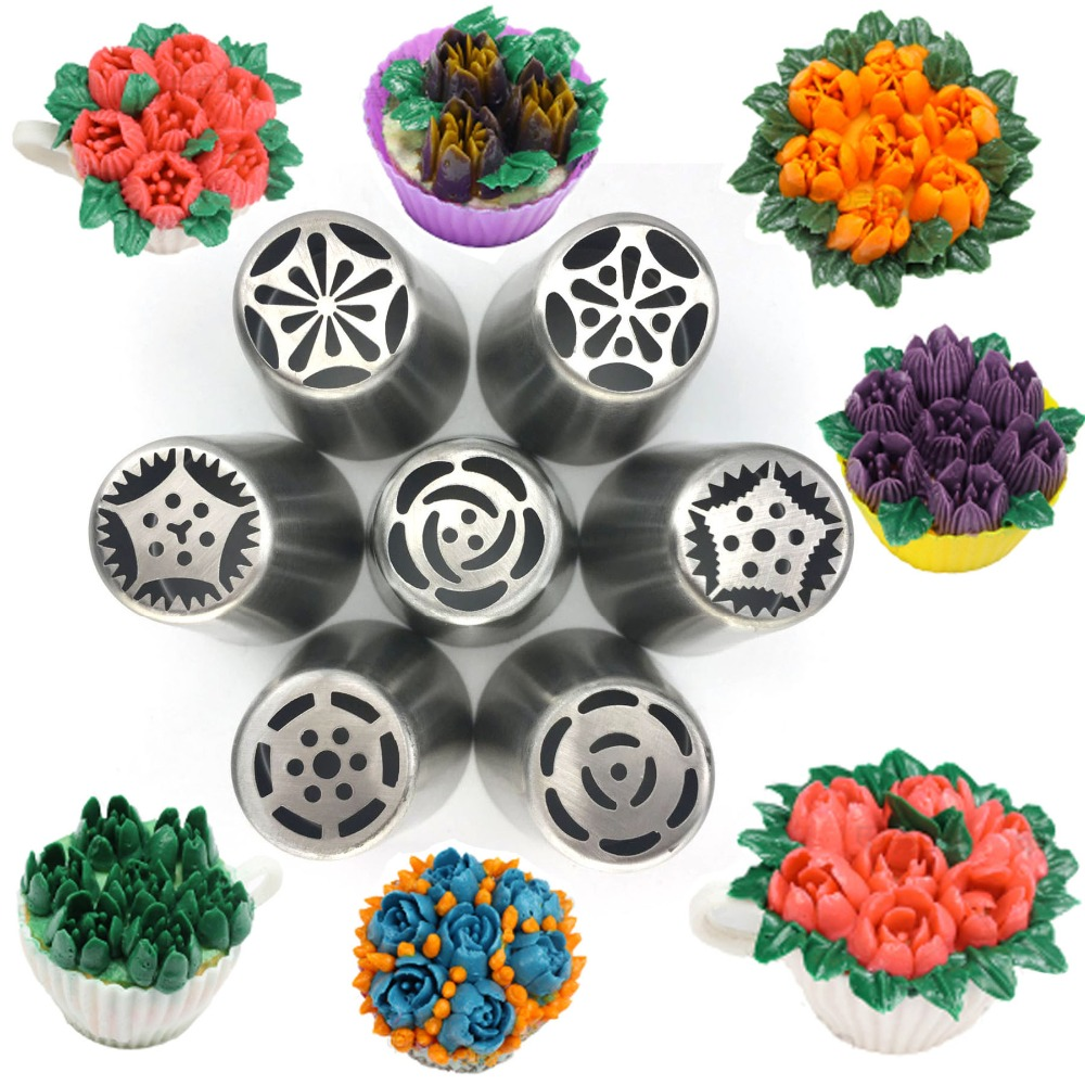 baking & pastry tools 7PCS Big Russian Nozzles Set Stainless Steel Icing Cream Sugarcraft nozzles tips untuk hiasan kek