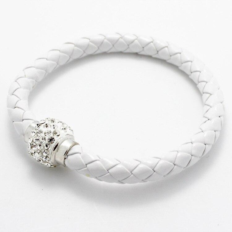 New LNRRABC Handmade Magnetic Crystal Rope Chain Charm Women Bracelets Men Leather Buckle Bangle Wristband Rhinestones Jewlery