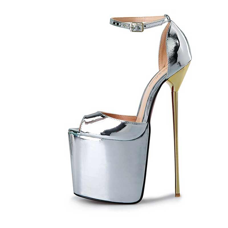 ФОТО summer Round Plus: 40-50 Peep Toe Sandals 22cm Slim High Heel Leather Varnished Sexy Women Platform Shoes Red Dress Pumps HSMA14