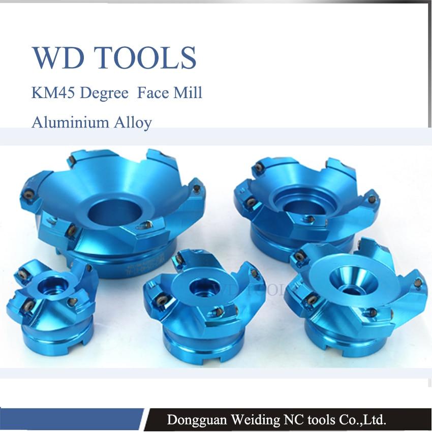 aluminium alloy KM 45 degree good quality 50mm 63m 80 KM face mill milling cutter cnc milling tools for inserts SEKT1204