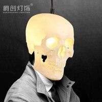 Halloween crâne pendentif lumière personnalité restaurant Rétro Art Bar salle à manger droplight