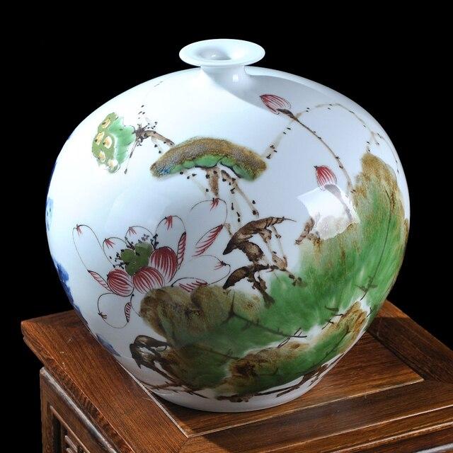 Jingdezhen céramique maîtres peint coloré lotus vase précieux ...