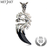 MetJakt Natural Agate Pendant Solid 925 Sterling Silver Dragon Head Pendants Necklace for Cool Unisex Vintage Punk Rock Jewelry