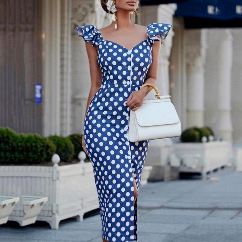 2019 fashion Womens Sleeveless Plus Size sexy dresses party night club V Neck Slim Dot Fork Bodycon vintage dress|Dresses| - AliExpress